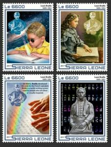 Sierra Leone - 2017 Inventor Louis Braille - 4 Stamp Set - SRL17517a