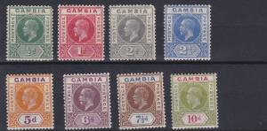 GAMBIA  1912 - 22  SG  108 - 116   VARIOUS   VALUES TO 10D   MH