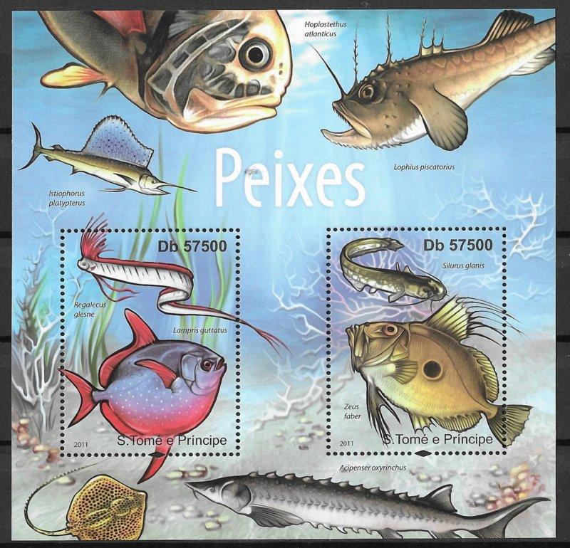 St. Thomas & Prince Islands MNH S.S Fish 2011