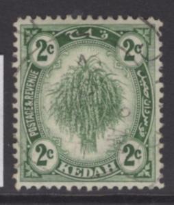 MALAYA KEDAH SG27 1921 2c DULL GREEN USED