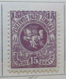 A11P4F2 Litauen Lituanie Lithuania 1919 Wmk Wavy Lines 15sk White Paper MH*