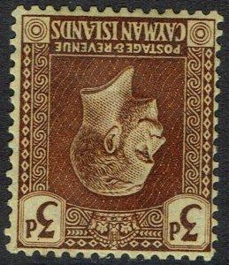 CAYMAN ISLANDS 1921 KGV 3D ERROR WMK MULTI CROWN CA INVERTED AND REVERSED