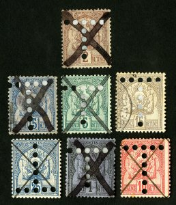 Tunisia Stamps Set of 7 Different Early Tax Stamps