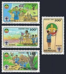 Senegal 897-900,MNH.Michel 1099-1102. Boy Scouts 1990.Camping,Hiking,Trail,