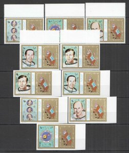 E0724 IMPERF,PERF SHARJAH SPACE APOLLO ASTRONAUTS !!! 2SET MNH