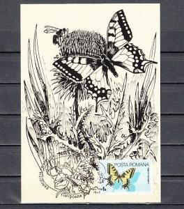 Romania, 1987 issue. 14/NOV/87. Butterfly Cancel on Butterfly Post Card. ^