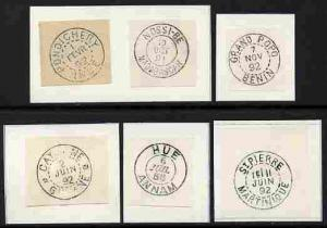 French Colonies six impressions of postmarks being forger...