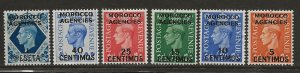 GREAT BRITAIN OFFICES - MOROCCO SC# 99-104  FVF/MOG 1951-52