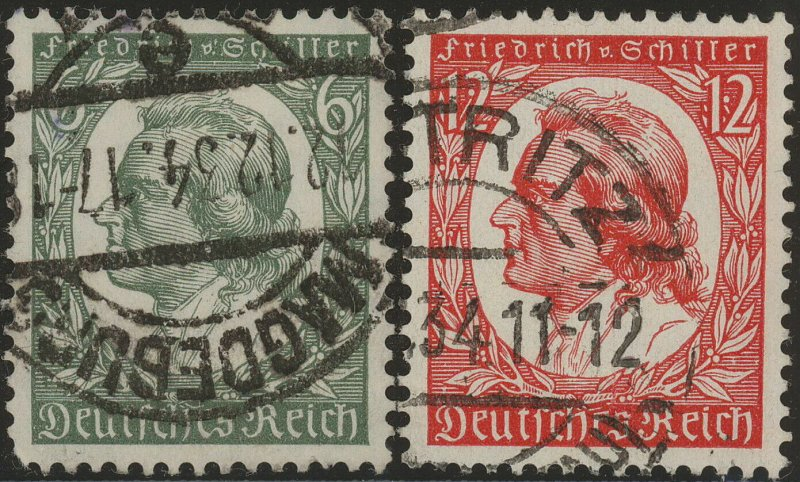 Stamp Germany Mi 554-5 Sc 446-7 1934 WWII Fascism Schiller Oil Painter Used