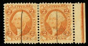 B316 U.S. Revenue Scott R10c 2-cent Express orange, horizontal right margin pair
