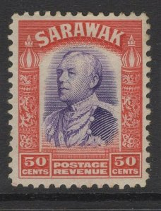 SARAWAK SG119 1934 50c VIOLET & SCARLET MTD MINT