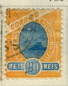 BRAZIL; 1894 early classic issue fine used 20r. value
