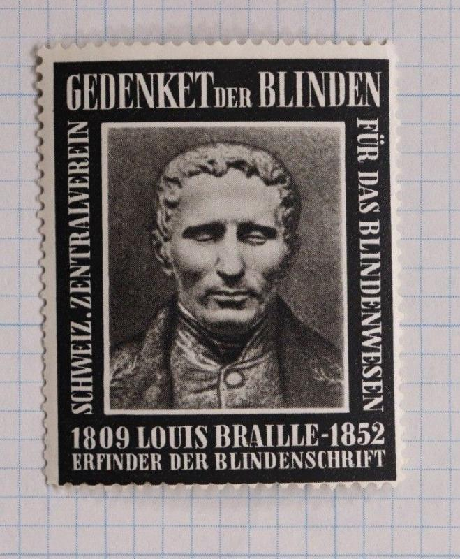 Inventor Louis Braille Swiss Blind Central Assoc charity aid Ad Poster Stamp DL