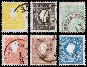 Austria Scott 6-11, Type II (1859-59) Used F-VF Complete Set, CV $379.15 J