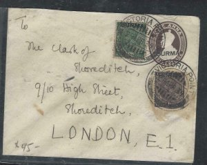 BURMA  (P0209B)  1939 KGV 1A PSE OVPT,+ 1/2A+1A SENT VICTORIA POINT TO LONDON