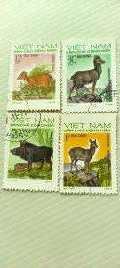 VIETNAM 1973 NATIVE WILD ANIMALS  IN FINE CTO CONDITION.