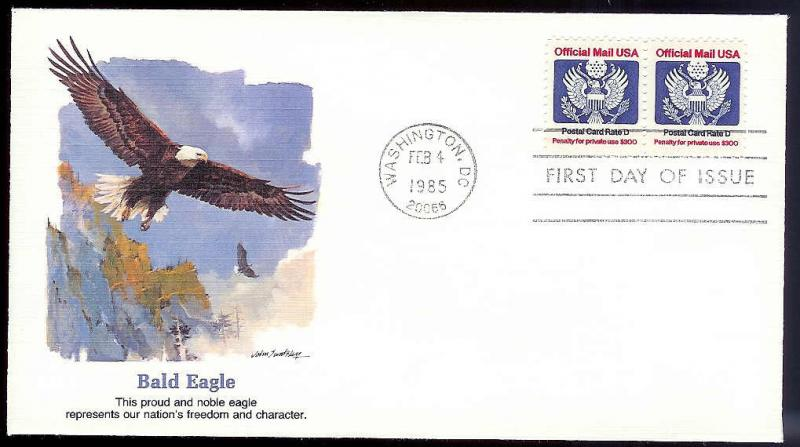 UNITED STATES FDC 22¢ 'D' rate Official coils 1985 Fleetwood
