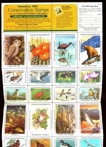 U.S. #1985 NATIONAL WILDLIFE SHEET OF 36 MNH