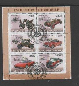 COMORO ISLANDS #1005 2008 AUTOMOBILES MINT VF NH O.G SHEET 6
