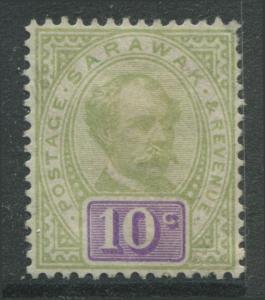 Sarawak 1891 10 cents green & violet unused no gum