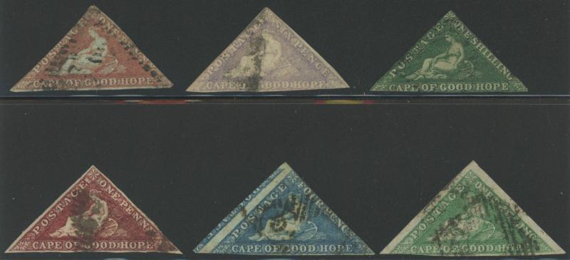 6 Diff Cape of Good Hope Triangles - Sc# 3 5 6 12 13 & 15 NICE!  S1673