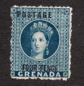Sc 13 - Grenada - 1881 - Four Pence - QV -  MNG F/VF -  superfleas - cv$350