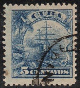 1905 Cuba Stamps Sc 236 Ocean Liner Re-Engraved U