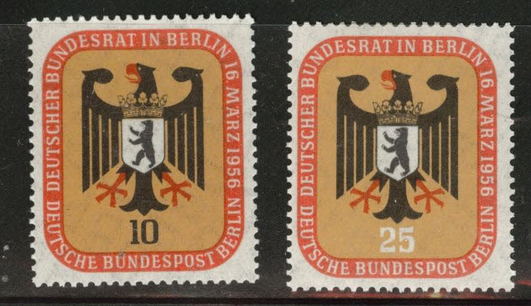 Germany Berlin Occupation Scott 9N118-19 MH* 1955 Arms set