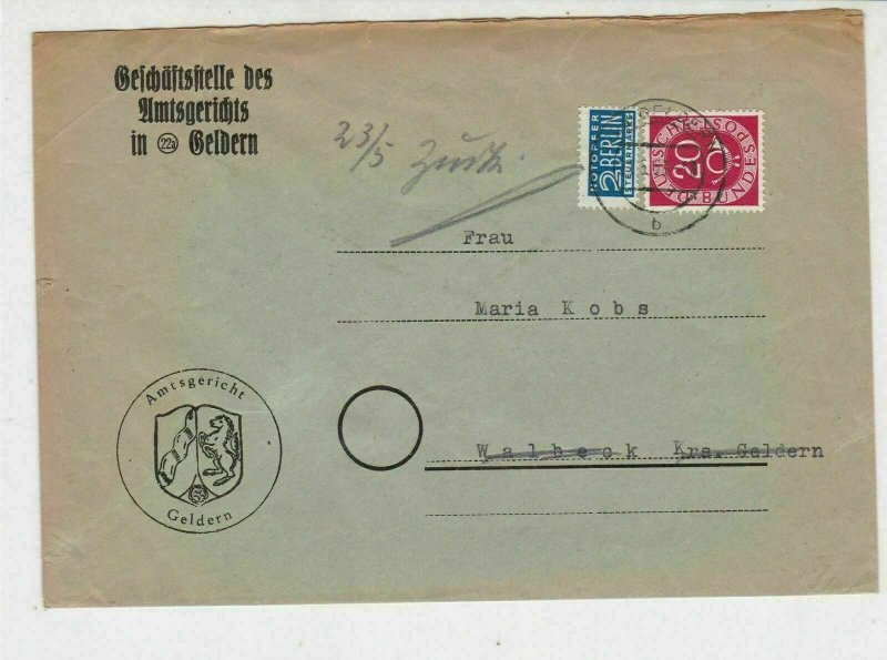 Germany 1953 Geldern Cancel Obligatory Tax Aid for Berlin Stamps Cover Ref 27322