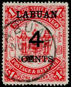 LABUAN SG75, 4c on $1 scarlet, VFU, CDS.