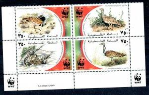 2001 - Palestine - Global Conservation - Birds- WWF- Complete set 4v.MNH**