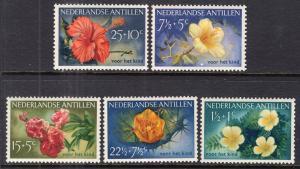 Netherlands Antilles B21-B25 Flowers Unused Mint Hinged BIN