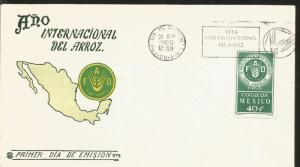 J) 1966 MEXICO, INTERNATIONAL YEAR OF RICE, MAP, WITH EMBOSSED, FDC