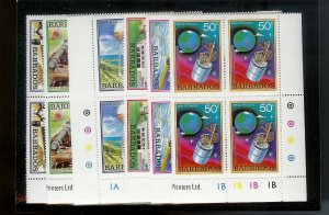 BARBADOS Sc#512-517 Complete Mint Never Hinged PLATE BLOCK Set