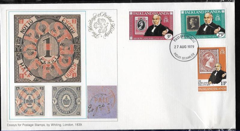 FF-68 FALKLAND MALVINAS 1979  ROWLAND HILL STAMP ON STAMP YV 287-9 FDC