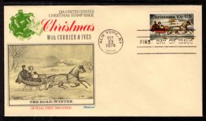 US 1551 Christmas Currier and Ives Fleetwood U/A FDC