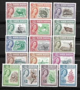 Doyle's_Stamps: MvVLH 1961 British North Borneo Set, Scott #280* to #295*