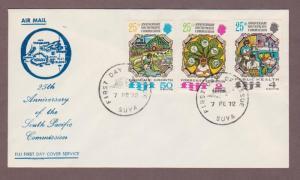 Fiji # 324 - # 326 , 25th Anniv South Pacific Commission FDC - I Combine S/H