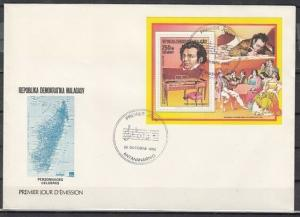 Malagasy Rep., Scott cat. 870. Composer Schubert s/sheet on a First day cover.