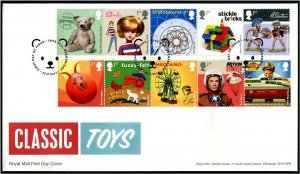 HERRICKSTAMP GREAT BRITAIN Sc.# 3638-47 Classic Toys FDC Toy Hills