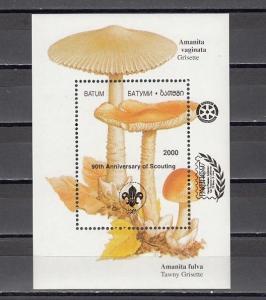 Batum, 200 Cinderella issue. Mushrooms s/sheet BLACK o/p 90th Scout Anniversary.