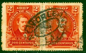 HONDURAS 1907 2c President Medina PAIR Sc 120 w NEW ORLEANS LOUISANA Postmark