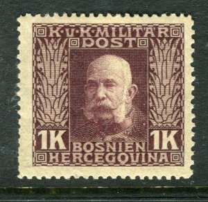 BOSNIA; MILITARY POST 1915 early F. Joseph issue Mint hinged 1K. value