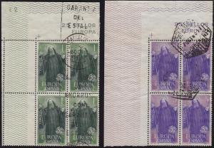 Spain - 1965 - Scott #1313-14 - used corner blocks of 4