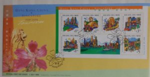STAMP STATION PERTH Hong Kong # FDC HK & Singapore Joint Issue 1999 VFU