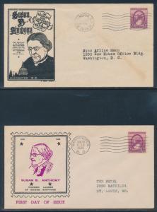 #784 S.B. ANTHONY FDC BY 1ST. AUDRY & MAYNE CACHETS WASH, DC (2) DIFF BU3414