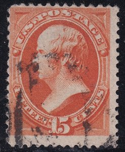 US STAMP #163 – 1873 15c Webster, yellow orange used stamp