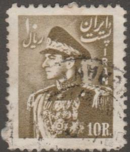 Persian stamp, Scott# 962, used, 10R, olive brown, 1952, #Aoo98