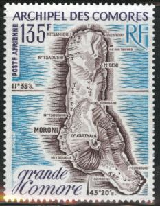 Comoro Islands Scott C53 MNH** 1973 Grand Comore Map stamp