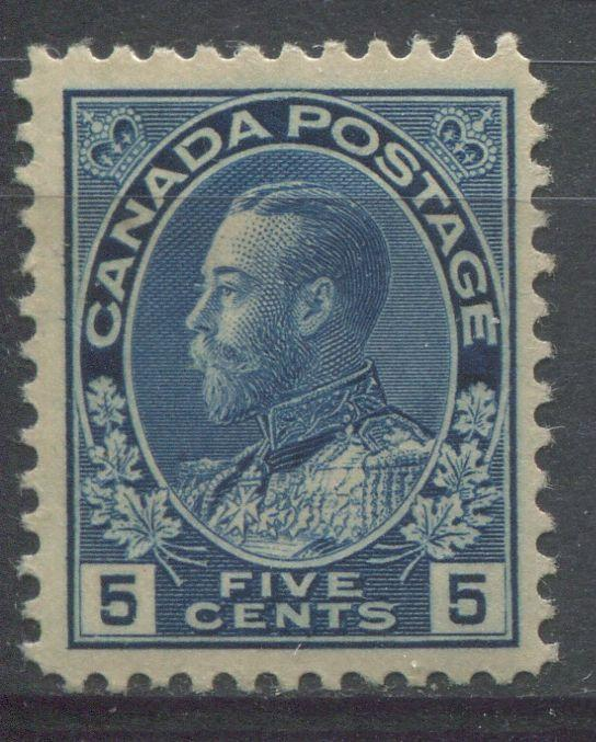 Canada #111 5c Deep Dull Blue 1911-27 Admiral Issue No Mesh  VF-75 OG